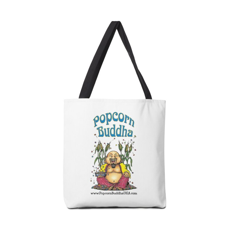 Sitting Buddha logo Accessories Tote Bag Bag by Popcorn Buddha Merchandise