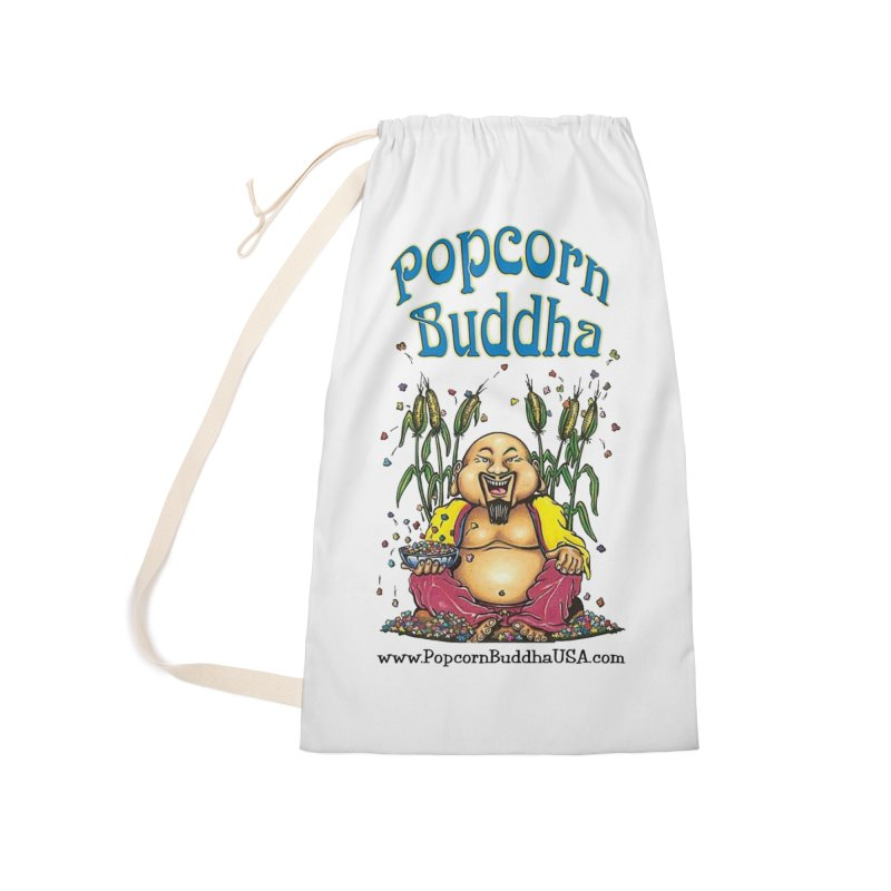 Sitting Buddha logo Accessories Laundry Bag Bag by Popcorn Buddha Merchandise