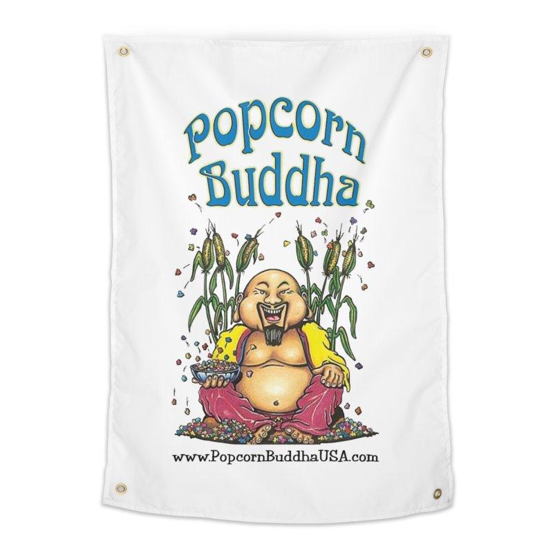 Sitting Buddha logo Home Tapestry by Popcorn Buddha Merchandise