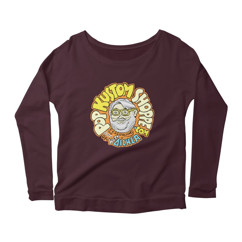 Pop Kustom Shoppe Logo Women's Scoop Neck Longsleeve T-Shirt by Popkustomshoppe Artist Shop