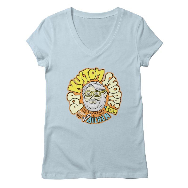Pop Kustom Shoppe Logo Women's Regular V-Neck by Popkustomshoppe Artist Shop