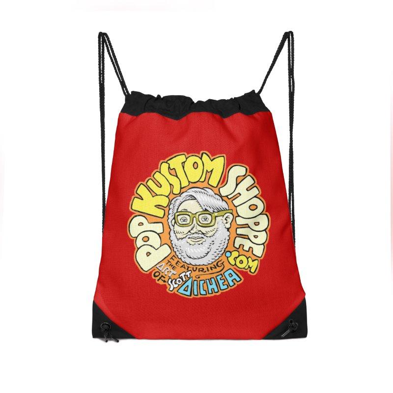 Pop Kustom Shoppe Logo Accessories Drawstring Bag Bag by Popkustomshoppe Artist Shop