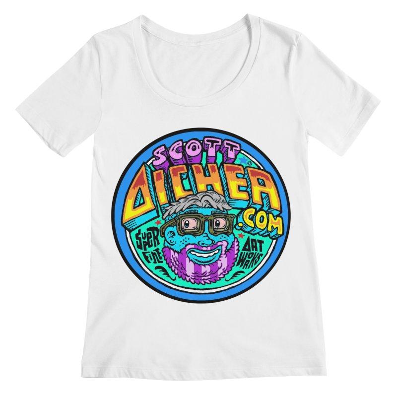 Moppy Aicher Women's Regular Scoop Neck by Popkustomshoppe Artist Shop