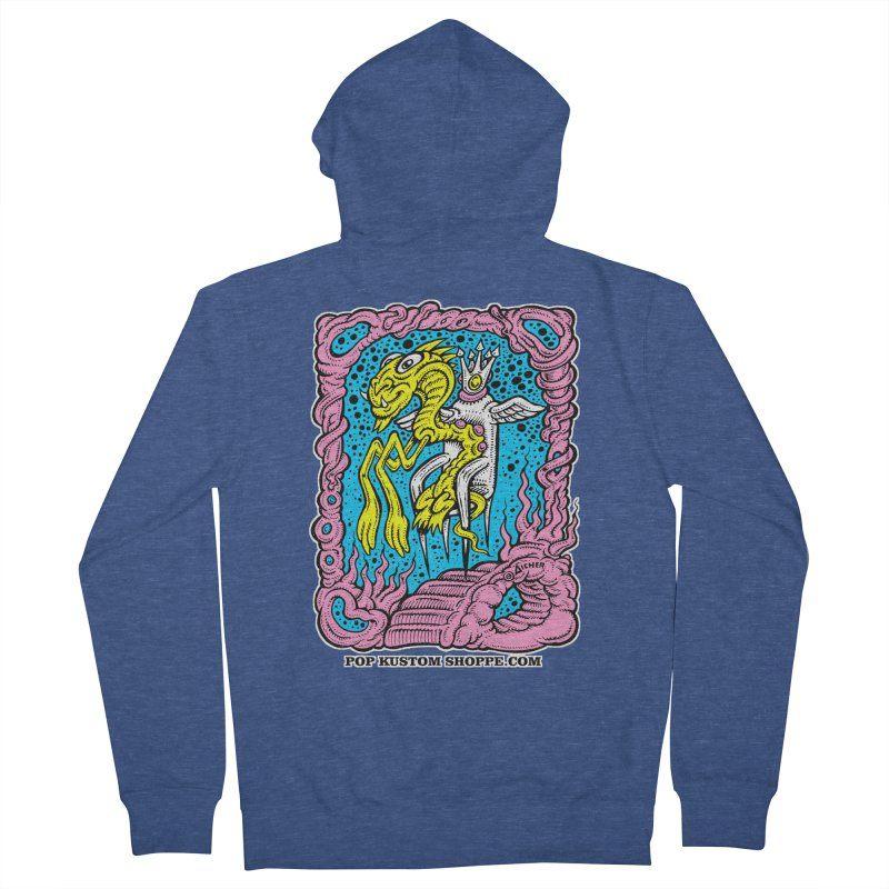 Aicher King Dragon Women's French Terry Zip-Up Hoody by Popkustomshoppe Artist Shop