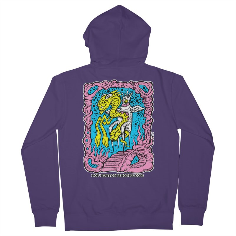 Aicher King Dragon Women's French Terry Zip-Up Hoody by Popkustomshoppe Artist Shop
