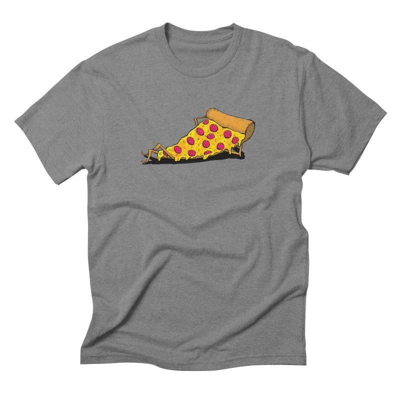 Pizza Lounging in Men's Triblend T-Shirt Grey Triblend by PRINTMEGGIN