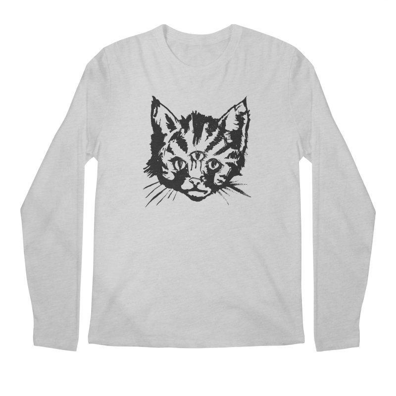 Three Eyed Kitty Men's Longsleeve T-Shirt by PRINTMEGGIN