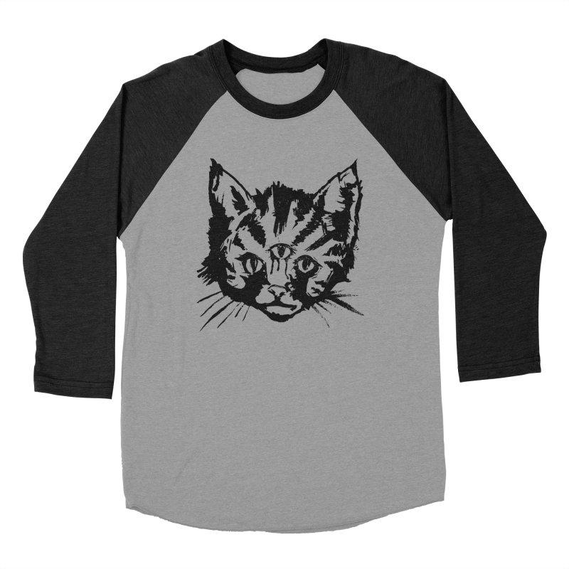 Three Eyed Kitty Men's Baseball Triblend T-Shirt by PRINTMEGGIN