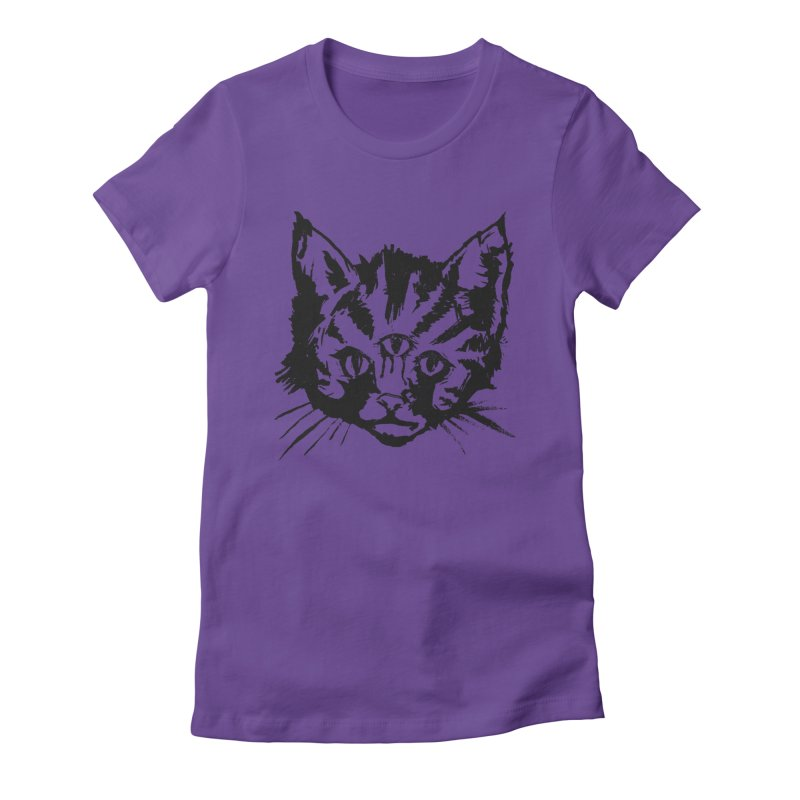 Three Eyed Kitty Women's Fitted T-Shirt by PRINTMEGGIN