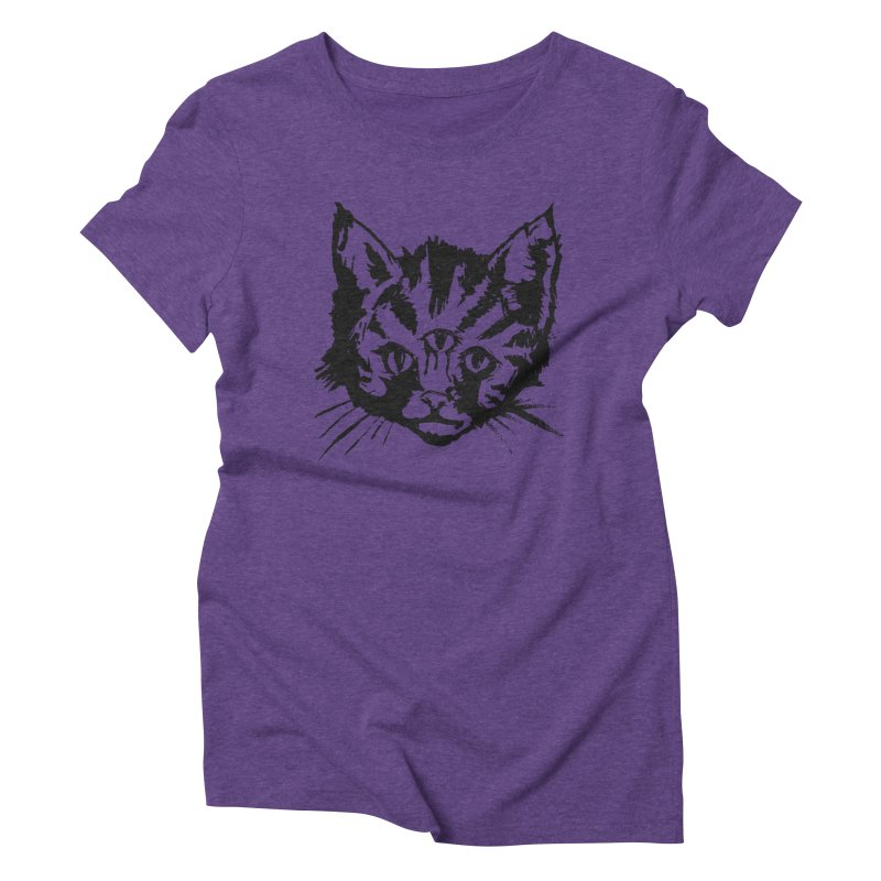 Three Eyed Kitty Women's Triblend T-Shirt by PRINTMEGGIN