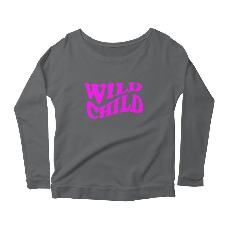 WILD CHILD Women's Longsleeve Scoopneck  by PRINTMEGGIN