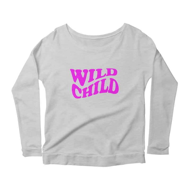 WILD CHILD Women's Longsleeve Scoopneck  by PRINTMEGGIN