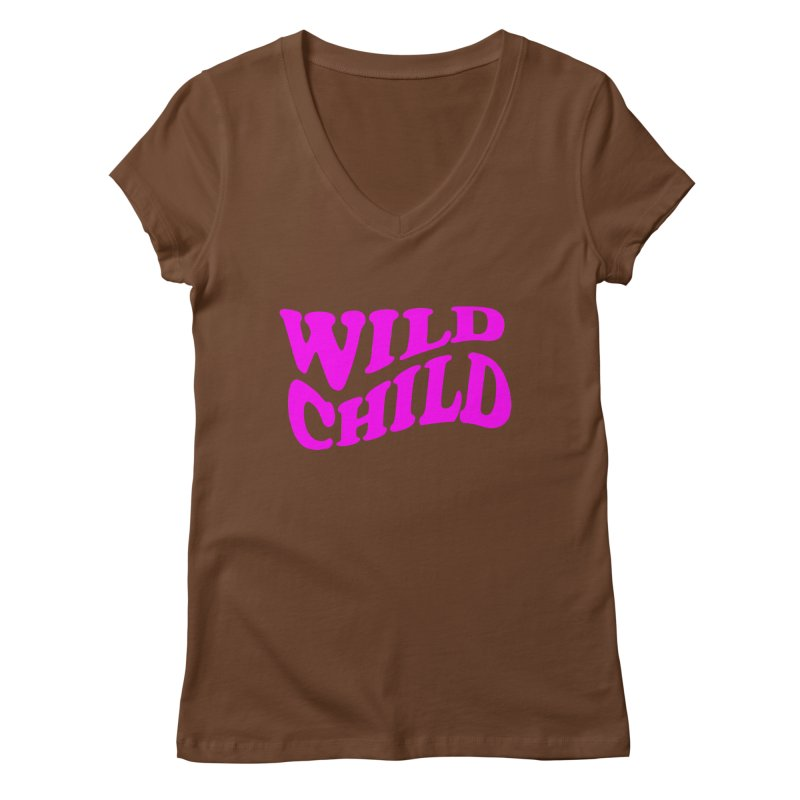 WILD CHILD Women's V-Neck by PRINTMEGGIN