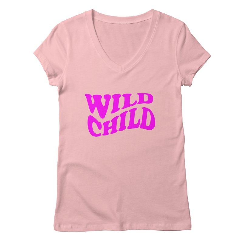 WILD CHILD Women's V-Neck by PRINTMEGGIN