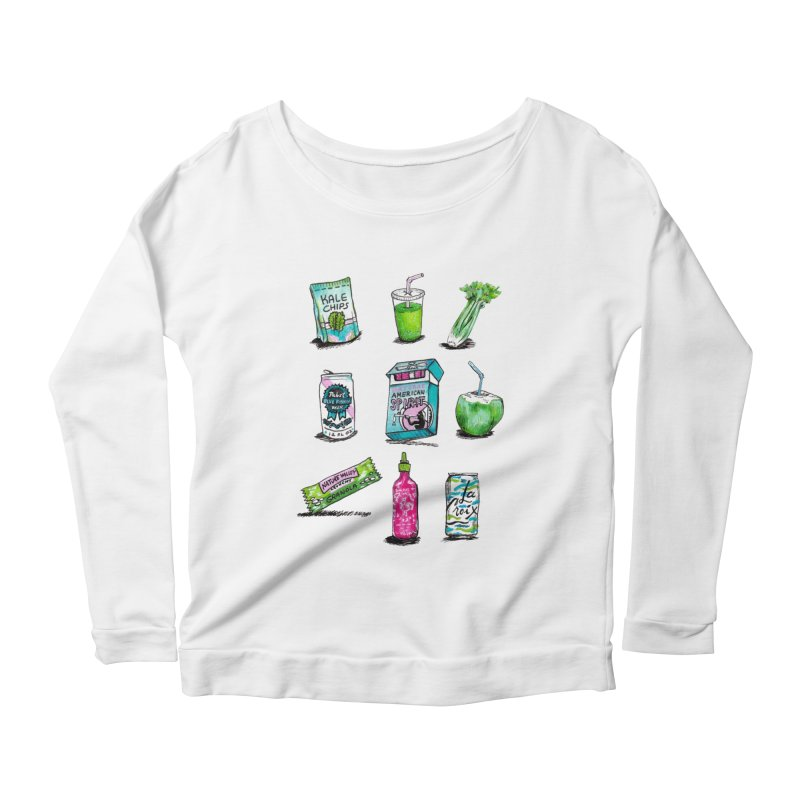 Snacksterpieces - Natural  Women's Longsleeve Scoopneck  by PRINTMEGGIN