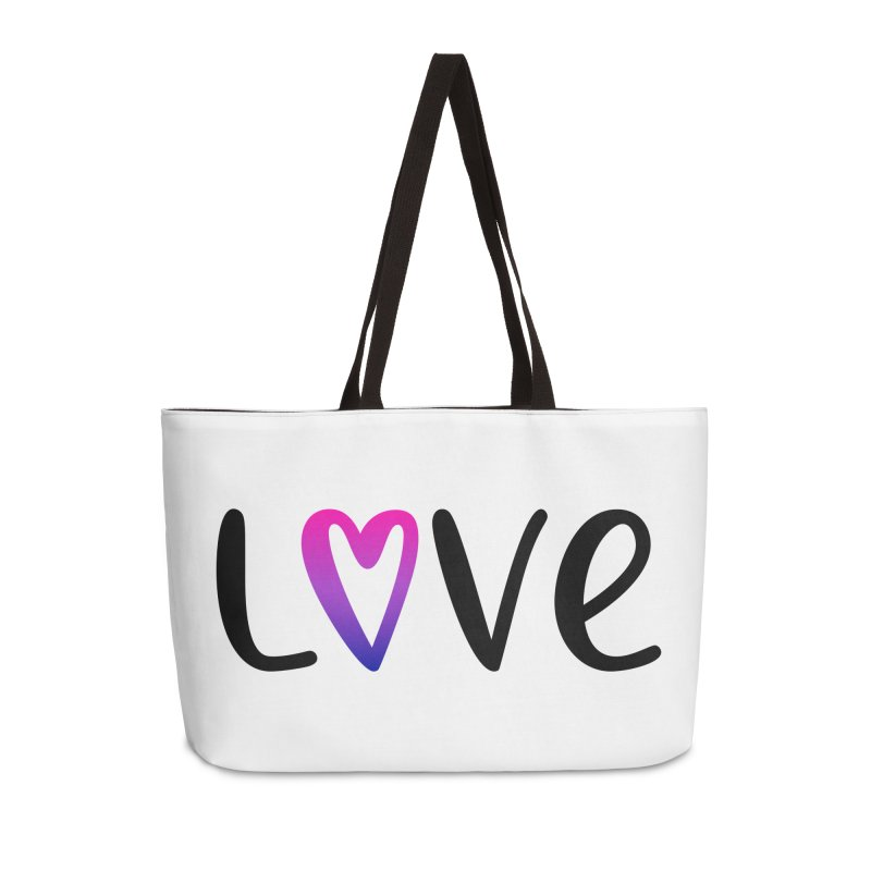 Love + Heart Accessories Weekender Bag Bag by Prismheartstudio 's Artist Shop