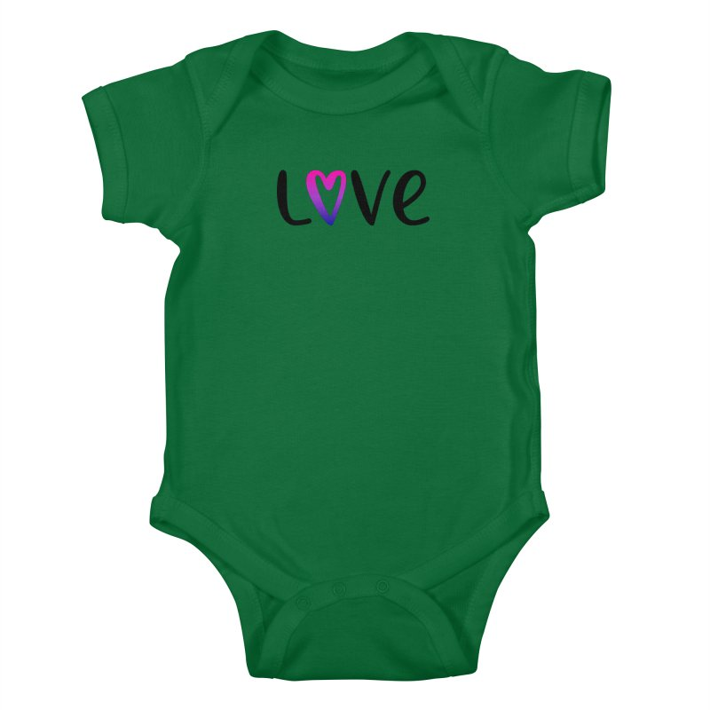 Love + Heart Kids Baby Bodysuit by Prismheartstudio 's Artist Shop