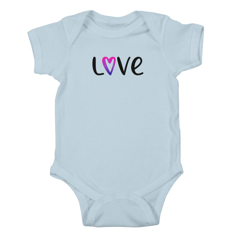 Love + Heart Kids Baby Bodysuit by Prismheartstudio 's Artist Shop