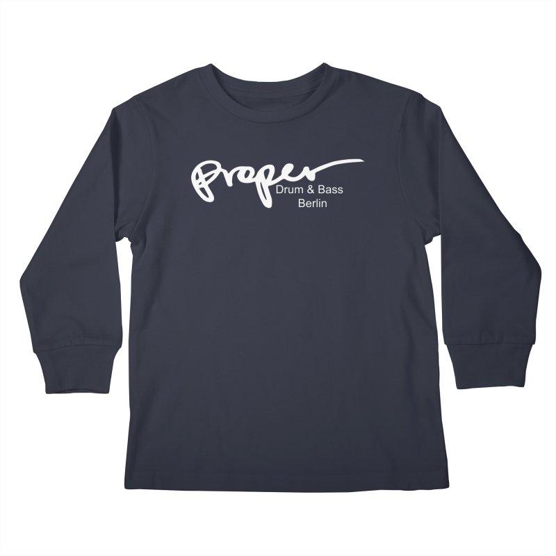 Proper OG Logo BERLIN (white) Kids Longsleeve T-Shirt by Properchicago's Shop