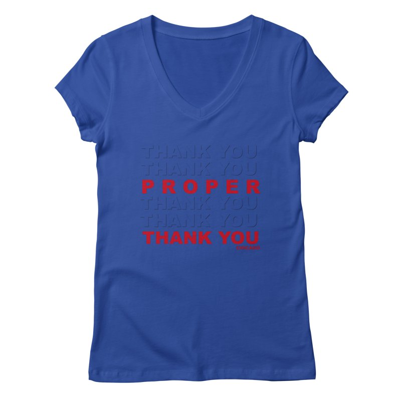THANK YOU RED Women's Regular V-Neck by Properchicago's Shop