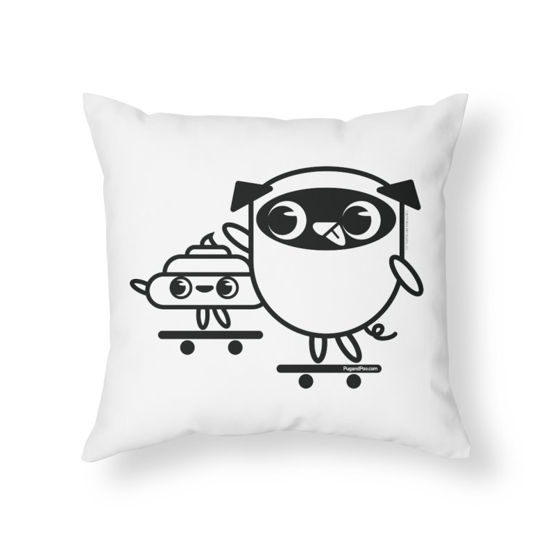 Pug and Poo Skate Home Throw Pillow by Pug and Poo's Store