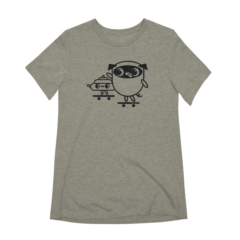 Pug and Poo Skate Women's Extra Soft T-Shirt by Pug and Poo's Store