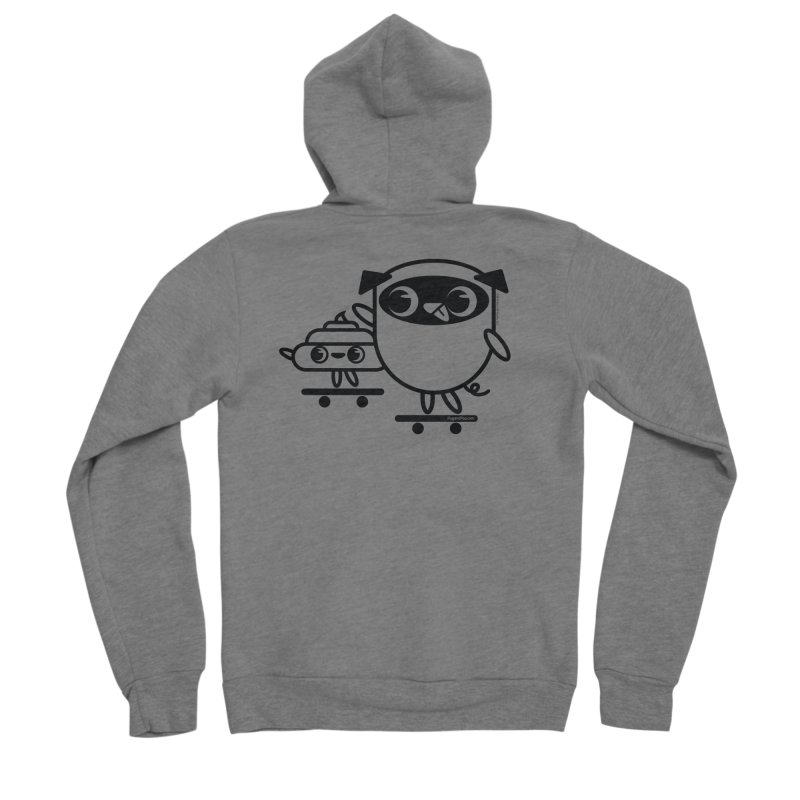 Pug and Poo Skate Women's Sponge Fleece Zip-Up Hoody by Pug and Poo's Store