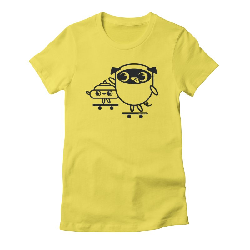 Pug and Poo Skate Women's Fitted T-Shirt by Pug and Poo's Store