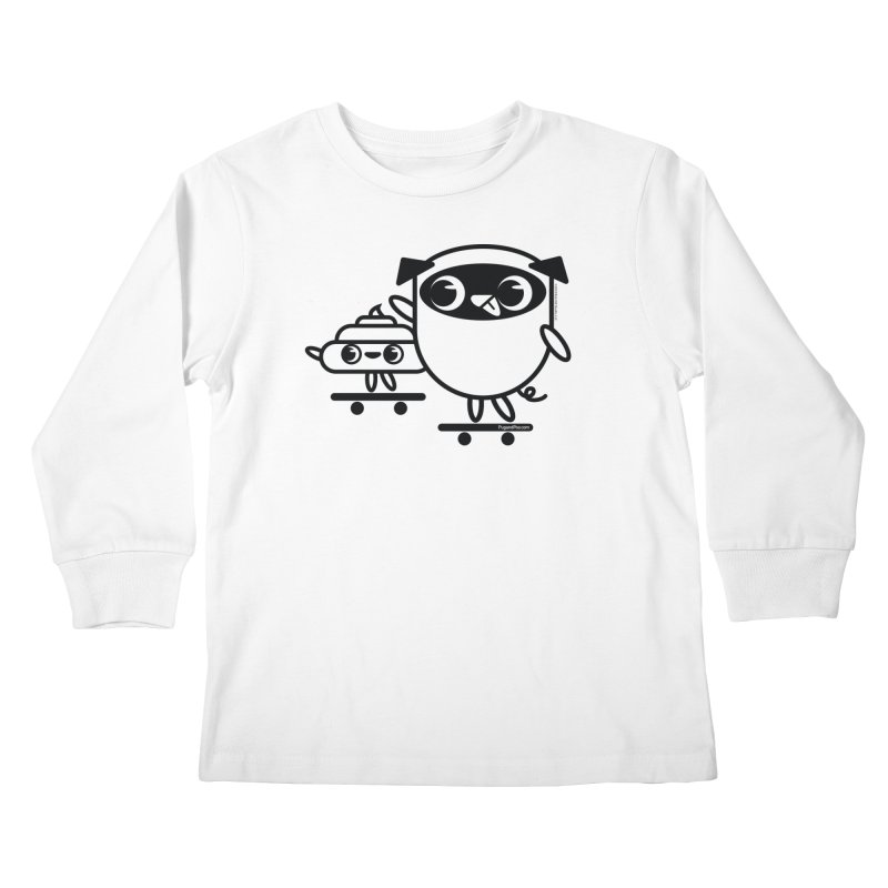 Pug and Poo Skate Kids Longsleeve T-Shirt by Pug and Poo's Store