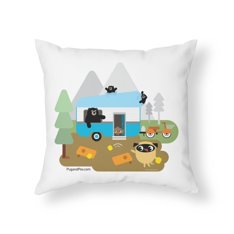Pug and Poo RV Home Throw Pillow by Pug and Poo's Store