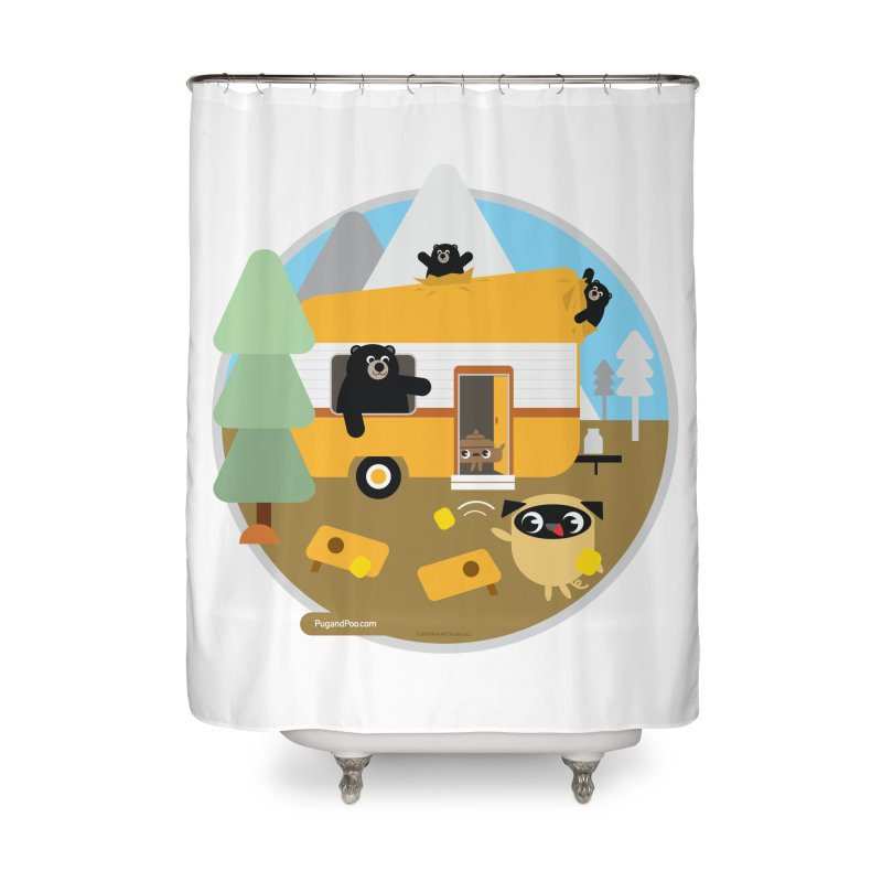 Pug and Poo RV / Circle Home Shower Curtain by Pug and Poo's Store
