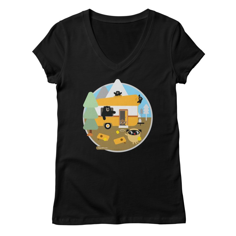 Pug and Poo RV / Circle Women's V-Neck by Pug and Poo's Store