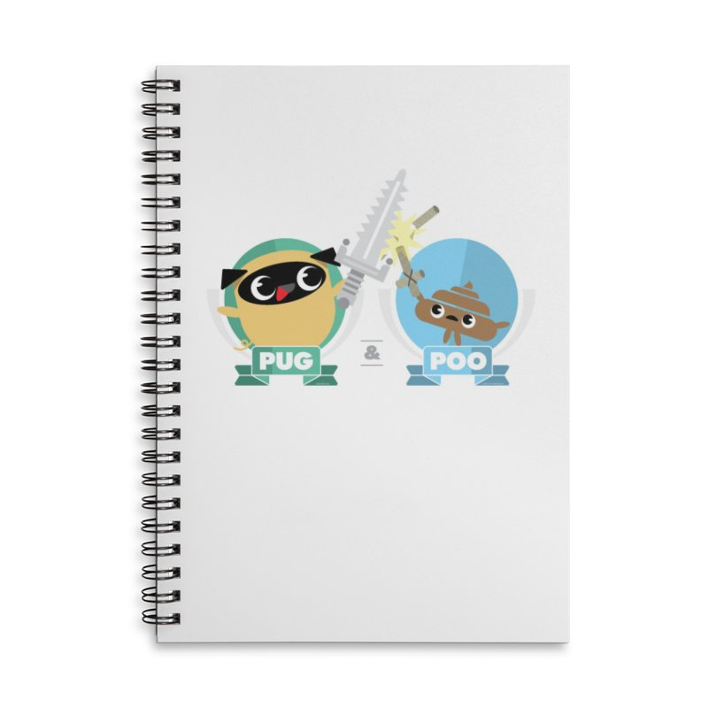 Pug and Poo's Epic Sword Battle Accessories Lined Spiral Notebook by Pug and Poo's Store