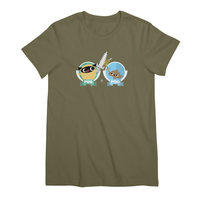 Pug and Poo's Epic Sword Battle Women's Premium T-Shirt by Pug and Poo's Store