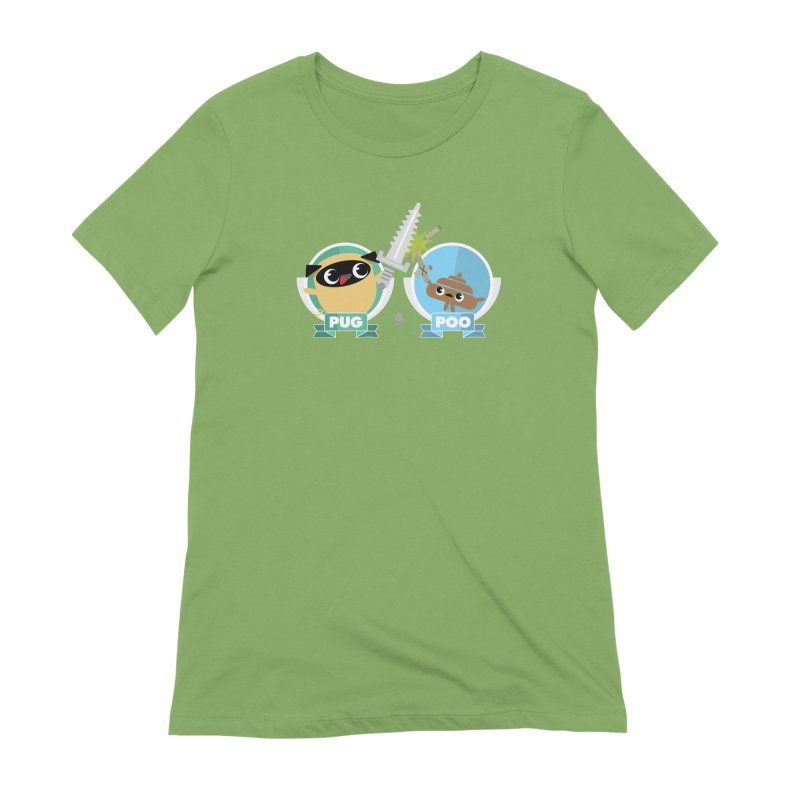 Pug and Poo's Epic Sword Battle Women's Extra Soft T-Shirt by Pug and Poo's Store