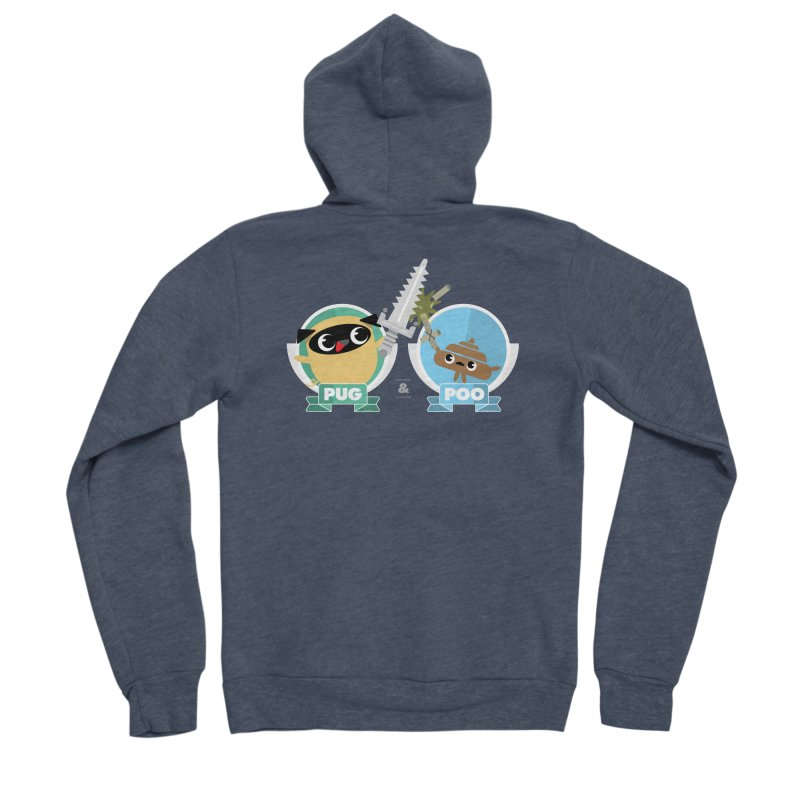 Pug and Poo's Epic Sword Battle Men's Sponge Fleece Zip-Up Hoody by Pug and Poo's Store