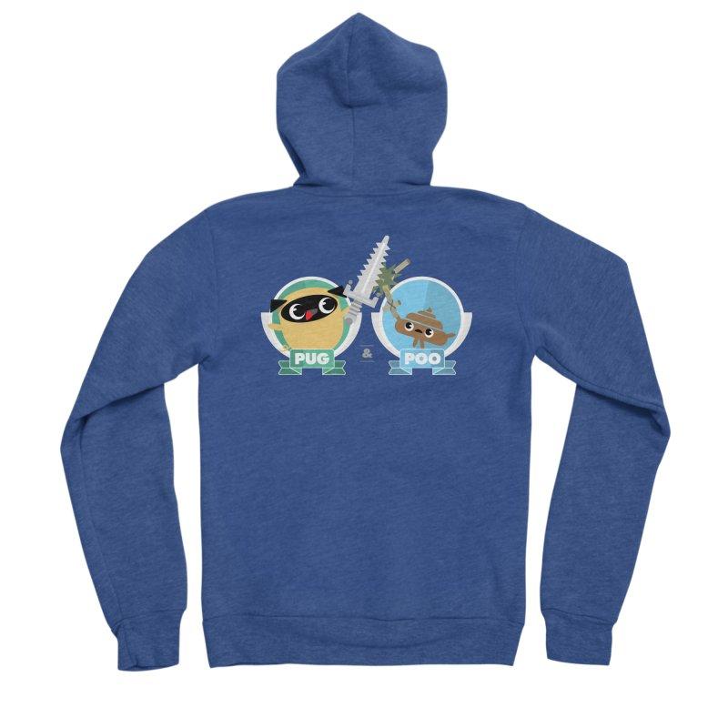 Pug and Poo's Epic Sword Battle Women's Sponge Fleece Zip-Up Hoody by Pug and Poo's Store