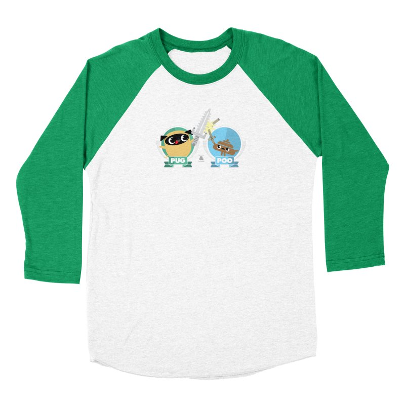 Pug and Poo's Epic Sword Battle Men's Baseball Triblend Longsleeve T-Shirt by Pug and Poo's Store
