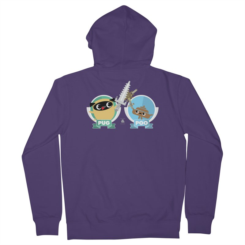 Pug and Poo's Epic Sword Battle Women's French Terry Zip-Up Hoody by Pug and Poo's Store