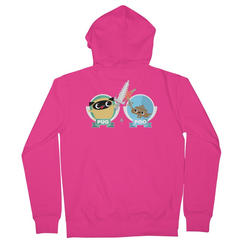Pug and Poo's Epic Sword Battle Men's Zip-Up Hoody by Pug and Poo's Store