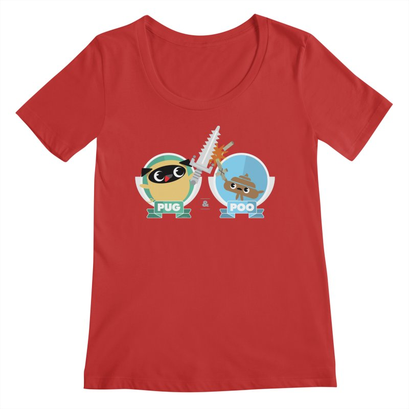 Pug and Poo's Epic Sword Battle Women's Scoop Neck by Pug and Poo's Store