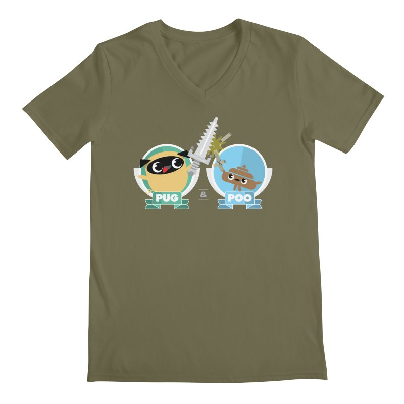 Pug and Poo's Epic Sword Battle Men's Regular V-Neck by Pug and Poo's Store