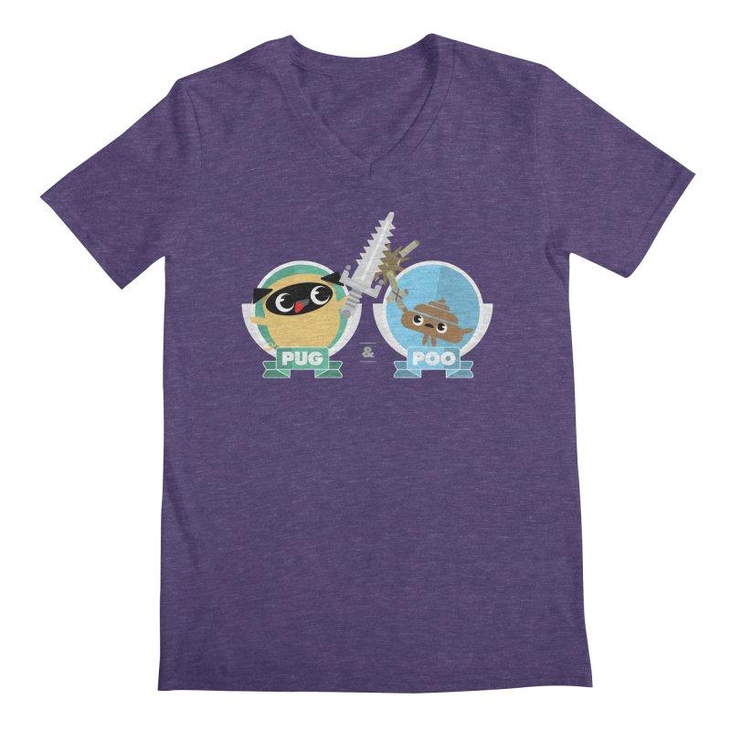 Pug and Poo's Epic Sword Battle Men's Regular V-Neck by Pug and Poo's Store