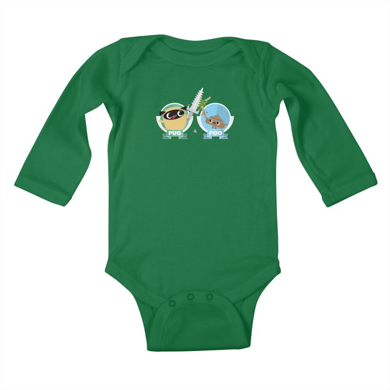 Pug and Poo's Epic Sword Battle Kids Baby Longsleeve Bodysuit by Pug and Poo's Store