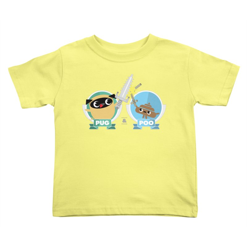 Pug and Poo's Epic Sword Battle Kids Toddler T-Shirt by Pug and Poo's Store
