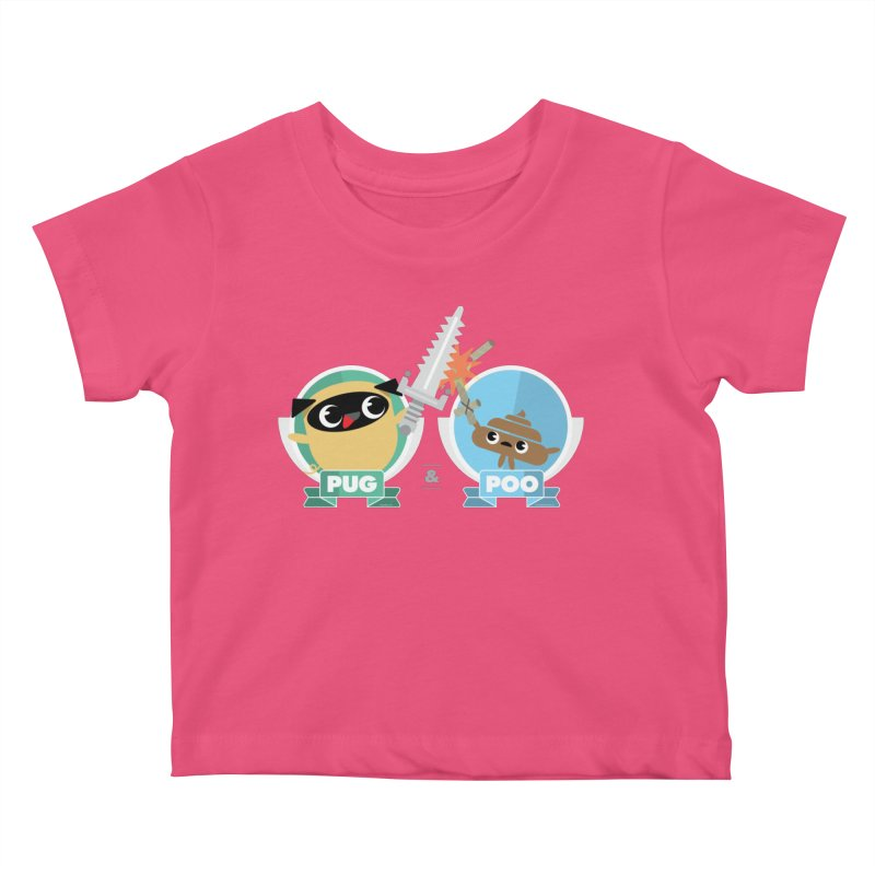 Pug and Poo's Epic Sword Battle Kids Baby T-Shirt by Pug and Poo's Store