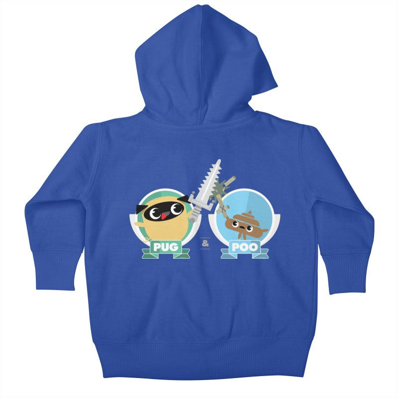 Pug and Poo's Epic Sword Battle Kids Baby Zip-Up Hoody by Pug and Poo's Store