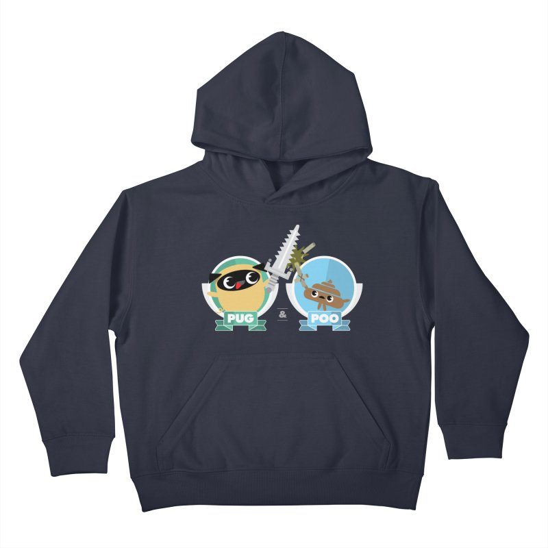 Pug and Poo's Epic Sword Battle Kids Pullover Hoody by Pug and Poo's Store