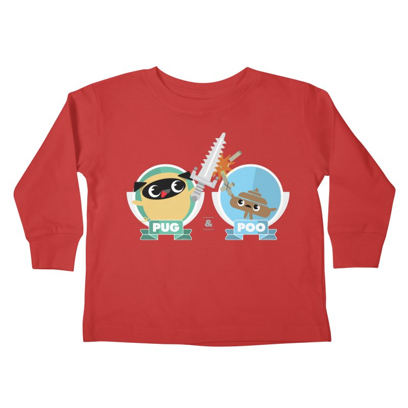 Pug and Poo's Epic Sword Battle Kids Toddler Longsleeve T-Shirt by Pug and Poo's Store