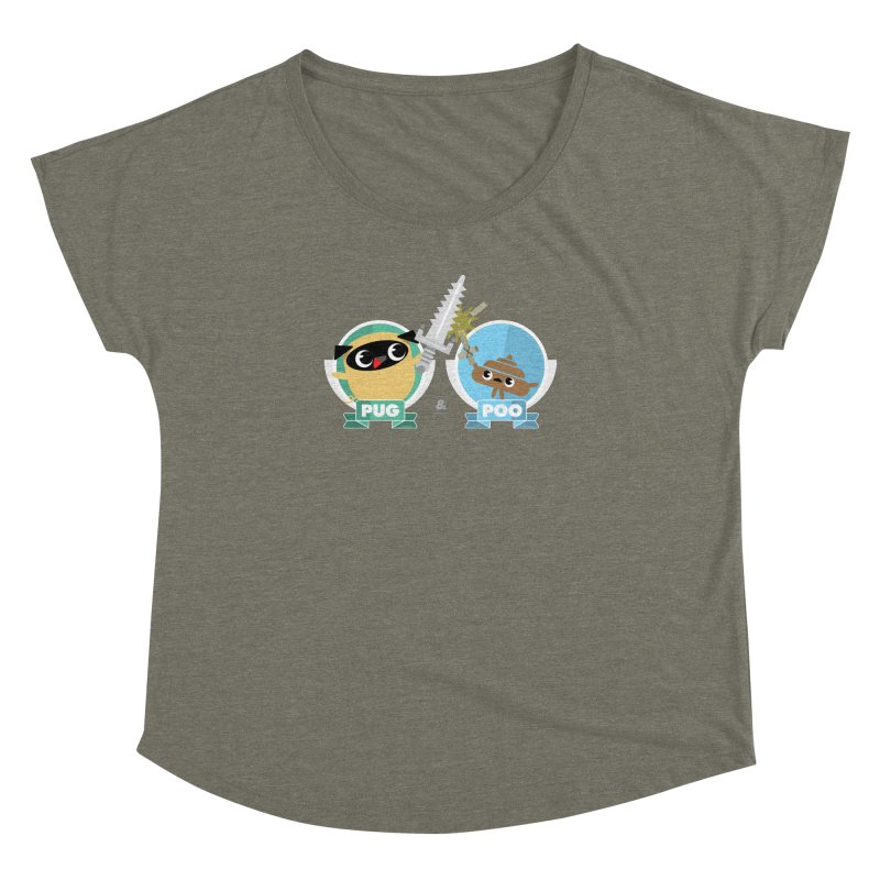 Pug and Poo's Epic Sword Battle Women's Dolman Scoop Neck by Pug and Poo's Store